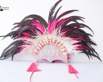 Boho Festival Showgirl Carnival Feather Headdress / Flower Pink Black White Tassel Suede / Burlesque Burning Man EDC Adult Women Headpiece