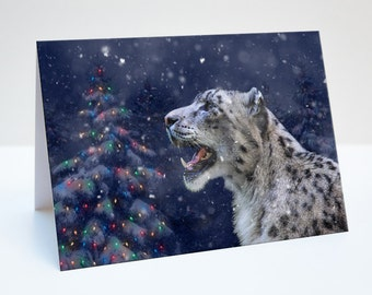 Snow Leopard Christmas / Holiday Photo Greeting Card