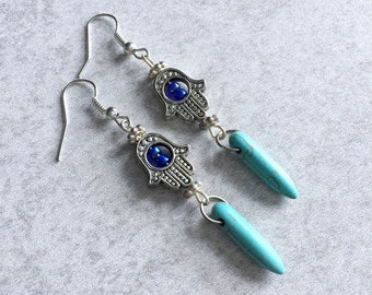 Hamsa x Turquoise Spike Earrings - Silver Hamsa Hand Charms, Iridescent Blue Seed Beads, Howlite Spikes, French Hooks, Boho Chic, Hippie