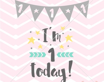 I'M 1 TODAY 1st birthday file girl baby onesie t-shirt screenprint sign scrapbook vinyl decal Digital Instant Download Svg png eps dxf