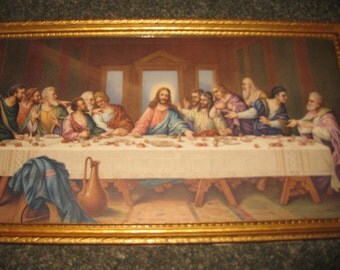 "ANTIQUE LAST SUPPER Print In Original Wood Frame 9"" x 16"" (1920's or 30's) Color Vivid In Print"