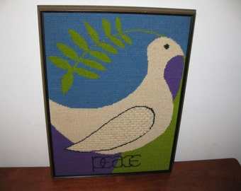 "DOVE OF PEACE 1974 Designed And Hand Stitched In Camelot Westminster California Framed Needlepoint 19 1/2"" x 14 1/2"" No Glass"