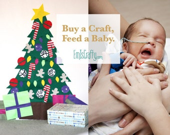 Deluxe Christmas Felt Tree Wall Activity. Build a Tree! Includes Command Hanging Strips! Buy a craft, feed a baby.