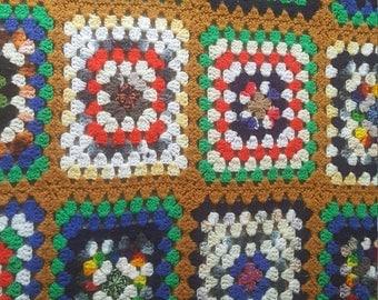 Vintage Afghan, crocheted, 1970s-1980s