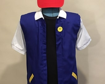 Adult 2 Pc  SMALL- POKEMON Trainer - ASH Ketchum  Costume   Cosplay