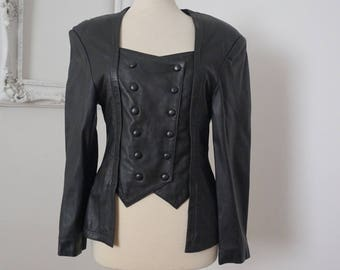Black Leather Vintage Futuristic Military Double Breasted Jacket Women Sz S