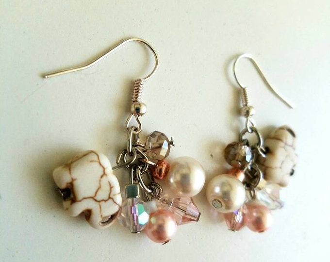Pink White Clear Glass Elephant Beaded Cluster Earrings