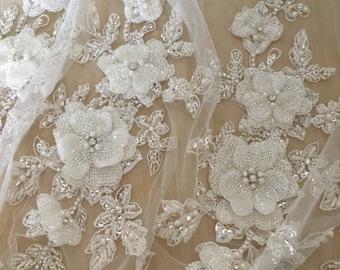 Luxury beaded lace applique, 3D bridal sash wedding belt applique, bridal sash wedding lace applique