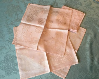 6 Soft Peachy Pink Cotton Damask Napkins with Striking Oriental Japanese Pictorial Designs - Excellent Condition