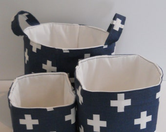 Fabric storage bins,  navy blue and white, organization