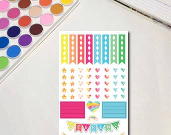 Whimsical Watercolor Planner Sticker Sheets, The Ones with Rainbow Unicorns Collection - Headers, Erin Condren, Traveler's Notebook