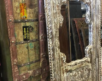 Antique Jharokha vINTAGE White Shabby Chic Full Length Hand Carved Floor Mirror Eclectic Furniture Living Room Decor