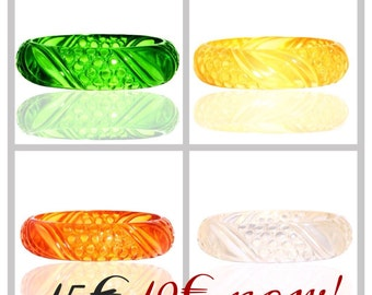 wonderful fab-a-lite bakelite bangle reproduction 40s look leaf design TRANSLUCENT! SALE!!!
