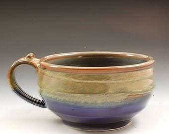 Handmade  Pottery Stoneware Soup  Bowl Blue and  Brown