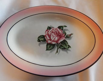 Mayer China Plate #267 Pink Rose Oval
