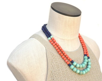 summer necklace / navy blue mint orange necklace / colorful beaded necklace / modern necklace / boho necklace / wood bead / summer jewelry