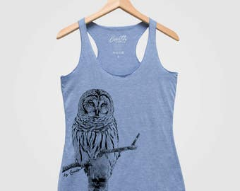 Owl Women Tank Triblend Racerback Tank Top Hand Screen Print