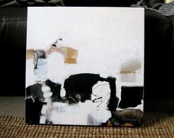 "Original Abstract Painting, Modern Art, Gold, Black & White, Trish Callaghan Art, 50.9 x 50.9cm, (20 x 20"") Square Format"