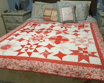 Star struck queen size quilt top