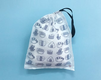 hand stamped sushi muslin gift bag 9 x 11 inches