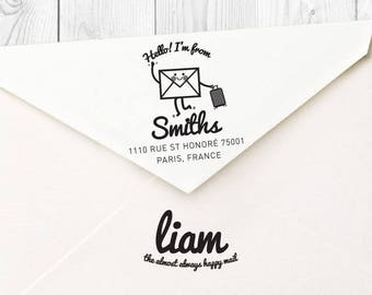 Liam custom return address rubber stamp - FREE SHIPPING WORLDWIDE*