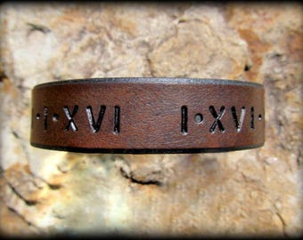 Roman Numeral Leather Bracelet Save The Date Latitude Longitude Custom Coordinates Personalized Couples Gift 3rd Anniversary Gift Mens Women