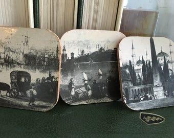 Vintage drink coasters made in Turkey, Bardakalti sous-verre coaster, coasters