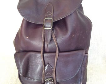 Genuine vintage brown leather backpack rucksack front flap Colombia