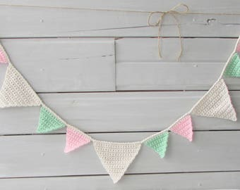 Banner Decoration Photo Background Banner Room Decoration Crocheted Nursery Bunting Decoration