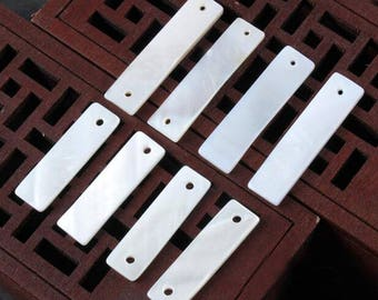 10pcs White Mother of Pearl Shell Rectangle Pendants/Connector -Natural mother of pearl beads -MOP beads for jewelry design(BK1021)