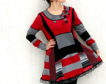 M-L Patchwork recycled sweater tunic dress boho style