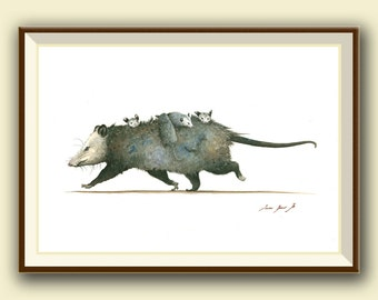 PRINT- Opossum with cubs - Opossum print - Possum art - Marsupial print watercolor painting art wall - Art Print by Juan Bosco
