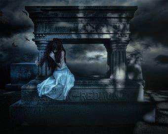 Goodbye--wall art, cemetery, tombstone, graveyard, dark art, Gothic, night, white gown, night sky, Gothic art, Halloween, crypt, gravestone