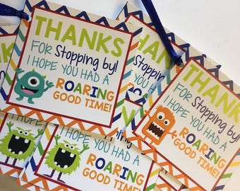 Monster Printable Party Favor Tags, Printable Monster Party Favors, Thank You, Boy Favor Tags,Monster favor tags