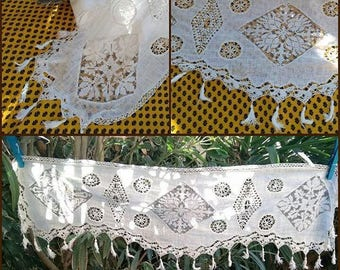 Long Victorian White Valance or Runner with Lace Inlays and Tassels Cotton made #sophieladydeparis