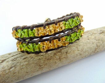 Wrap Bracelet - Leather - Seed Beads - Yellow Green