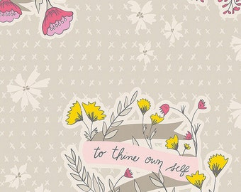 Art Gallery Fabrics/ Bonnie Christine/ Wonderful Things/ Words to Live By Whisper/ Premium Cotton/Quilting Cotton