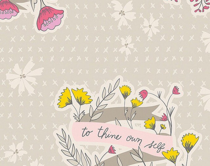 Art Gallery Fabrics/ Bonnie Christine/ Wonderful Things/ Words to Live By Whisper/ Premium Cotton