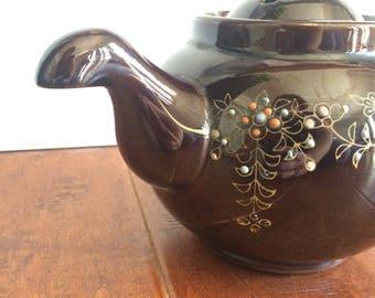 Downturn Spout  Teapot, Brown Japanese Teapot, Hand Painted Teapot, Floral Teapot, 1940's Jeapot, Teapot Made In Japan, Unusual Teapot,