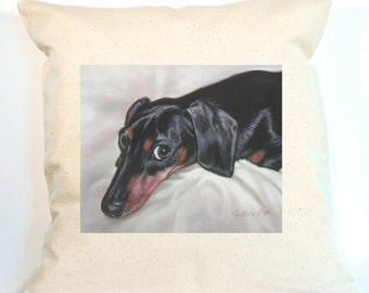 Doxie Pillow,, Dachshund Decorative Pillow, Personalized Canvas Pillow
