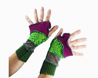Summer Upcycled Arm Warmers Recycled Gloves Fingerless Womens Lime Green Lace