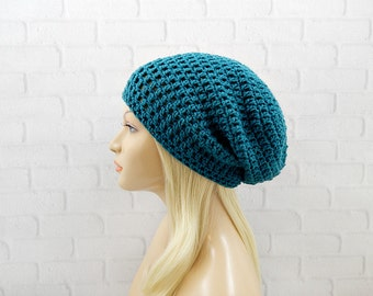 Dark Teal Slouchy Hat, Crochet Beanie, Hipster Hat, Vegan Friendly, Slouchy Beanie, Slouch Hat, Oversized Hat, Slouchy Teal Hat