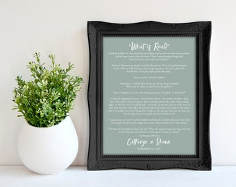 Custom Wedding Keepsake Gift, The Velveteen Rabbit Verse Print, Wedding Reading Poster 8 x 10, Choose your colors