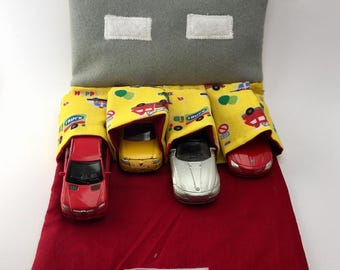 Toy car carrier with road, car wallet for car organisation, out and about car holder