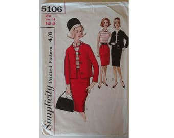 """Simplicity 5106 Vintage 60's Jackie O Mad Men Jacket Skirt Suit and Blouse Pattern Bust 34"""""""
