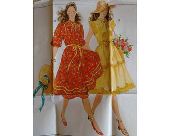 """UNCUT Vintage 80's Burda #7895 Pin Tuck Front Gypsy Peasant Dress Sewing Pattern 6 Sizes  Bust 31.5"""" 32.5"""" 34"""" 36"""" 38"""" 40"""""""