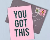 You Got This - Glitter Print Positivity Card - Pink and Mermaid Green Glitter - Birthday or Congratulations Card