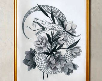 Original Illustration of a Snake Tangled in Hellebore Flowers