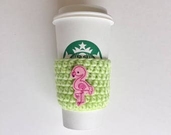 Flirty Flamingo Cozy ~ Crochet Coffee Cozy ~ Coffee Cozie ~ Reusable Cup Sleeve