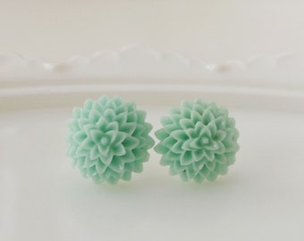 Mint flower studs, chrysanthemum earrings, resin flower studs, nature inspired earrings